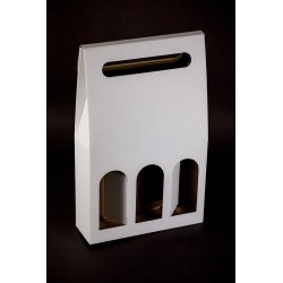 Pudełko na wino - białe 3-sztukowe
