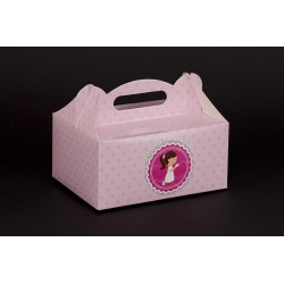 Pudełko komunijne 190x140x90 nadruk dziewczynka + wkładka
