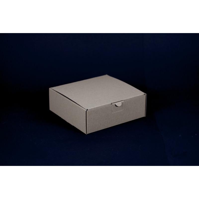 Opakowanie prezentowe 18,5x18,5x6,5 - brązowe w prążki