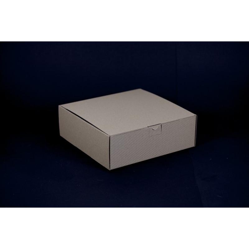 Opakowanie prezentowe 25x25x8,5cm - brązowe w prążki