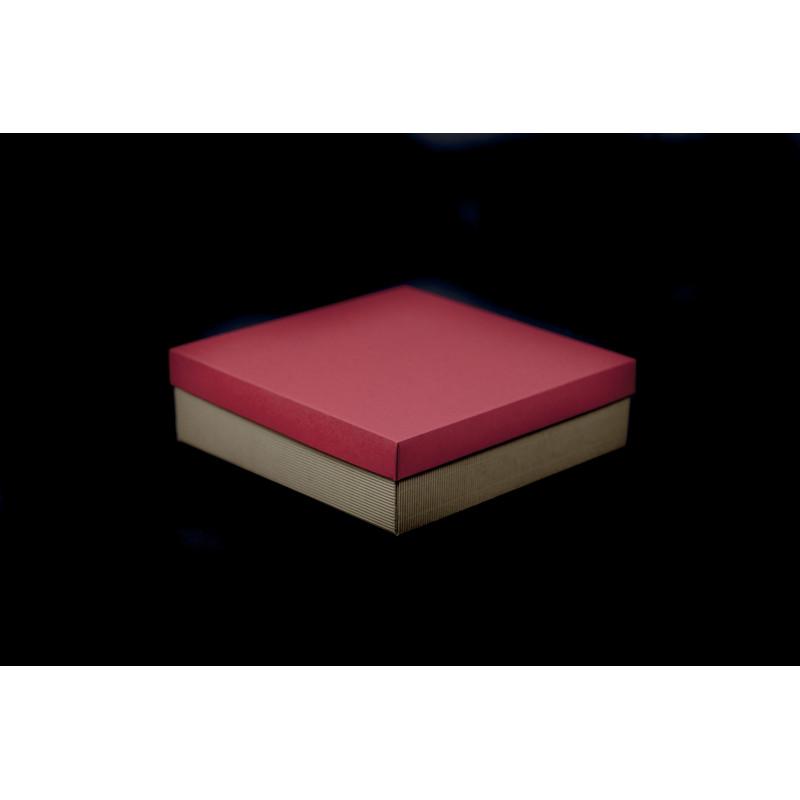 Opakowanie prezentowe 21x21x6cm - brązowe karbowane + czerwona pokrywka