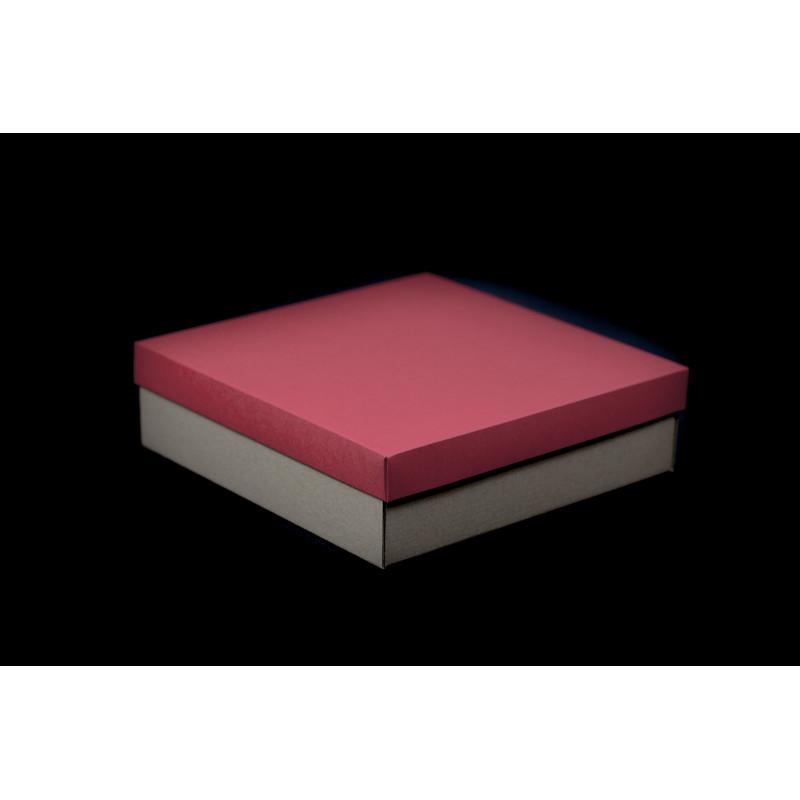 Opakowanie prezentowe 21x21x6cm - brązowe gładkie + czerwona pokrywka