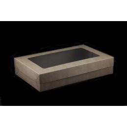 Pudełko na ciastka z pokrywką 370x230x75mm brązowe z okienkiem