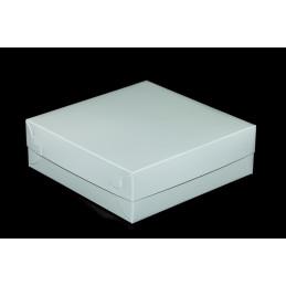 Pudełko na ciastka 22x22x7cm - drukowane, turkus